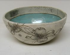 large bowl with dogwood flowers by DianaFaytCeramics on Etsy
