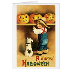 Old-fashioned Halloween Boy with Puppy Card #halloween #holiday #creepyhollow #cards #postage