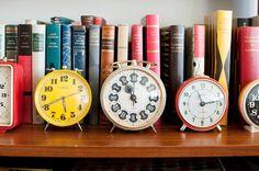 clocks & books - love the colors