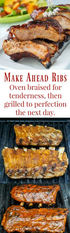 Make Ahead Ribs - braised then grilled! Learn how to slow braise the St. Louis style ribs in the oven the day before then grill and glaze them to sticky perfection the next day.