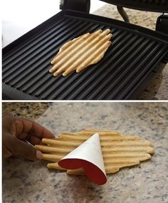 now THIS is a way i could use my panini pan every day. Make Ice Cream Cones In Your Panini Press Panini Happy Frozen Desserts, Just Desserts, Delicious Desserts, Dessert Recipes, Yummy Food, Make Ice Cream, Homemade Ice Cream, Panini Recipes, Panini Press