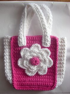 Crocheted  Childs Purse with Flower by AprilsCrafts on Etsy, $15.50