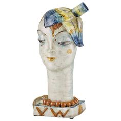"""Wiener Werkstätte Sculpture """"Head with Flower"""" by Vally Wieselthier 