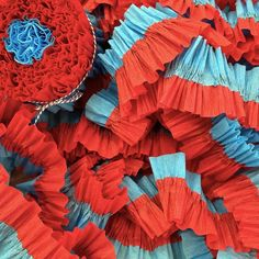 36 Feet Red and Turquoise Ruffled Crepe Paper Streamers - Party Decoration - Craft and Party Supplies Kids Birthday Themes, Boy Birthday Parties, 2nd Birthday, Decor Crafts, Diy And Crafts, Crafts For Kids, Paper Crafts, Streamer Party Decorations, Crepe Paper Streamers