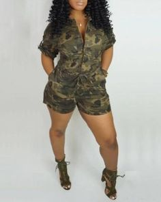 Camouflage Fashion, Camouflage Shorts, Camo Fashion, Style Fashion, Cute Camo Outfits, Cute Jumpers, Jumper Outfit, Plus Size One Piece, Short Jumpsuit
