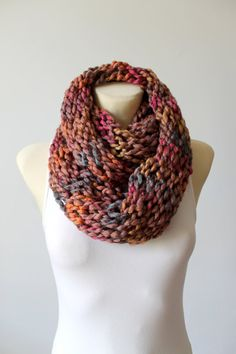 Brown Knit Scarf Knit Infinity Scarves Chunky Knit Scarf Oversized Knit Scarf Gift for Her Gift Womens Unique Scarves Christmas Gift Mom