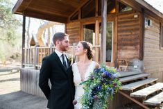 Summer camp/ cabin wedding with giant purple bouquet  El Capitan Canyon Santa Barbara Wedding Photographer // www.jessicahickerson.com
