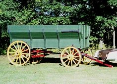 This is a Flair-Type, Grain-Type, American Farm Wagon that measures almost six feet tall. It was built in 1881 by the Studebaker Bros. Mfg. Co., South Bend, IN. It was used on a farm in Athol, Idaho till 1900 when it got put into the back of the barn and forgotten about and was eventually covered with a pile of dry hay which helped preserve it. It is owned be a true Studebaker enthusiast, note the nose of the Studebaker Avanti car.