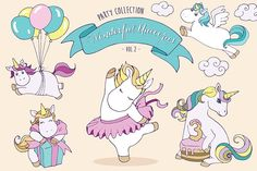 Unicorns - Party set by Kalina Grpahics shop on Unicorn Illustration, Pencil Illustration, Graphic Illustration, Bear Watercolor, Watercolor And Ink, Wreath Drawing, Painting & Drawing, Happy Birthday, 3rd Birthday