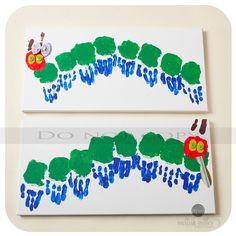 The Very Hungry Caterpillar hand print art
