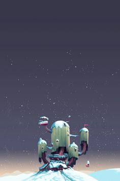 "ncrossanimation: "" This year Cartoon Network asked me to help put together their holiday card. I added snow to a photo of the Adventure Time treehouse from the upcoming stop-motion episode directed by Kirsten Lepore. "" holiday card design by Over the. Adventure Time Cartoon, Adventure Time Anime, Life Adventure, Marceline, Cartoon Wallpaper, Wallpaper Backgrounds, Cartoon Network, Stop Motion, Animation"