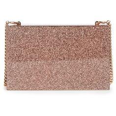 Women's Stella Mccartney 'Mix Glitter' Box Minaudiere ($1,650) ❤ liked on Polyvore featuring bags, handbags, clutches, copper, chain handle handbags, chain strap handbags, brown purse, stella mccartney handbags and brown handbags