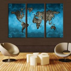 Blue World Map Art. Canvas WallsCanvas ... & 5 Pcs Modern Abstract Wall Art Painting World Map Canvas Painting ...