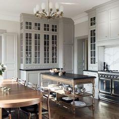 Kitchen Time, Cozy Kitchen, Kitchen Ideas, Kitchen Island Table, Kitchen Dining, Brighton Houses, Gray And White Kitchen, New England Homes, Cabinet Styles