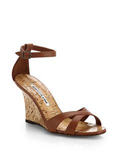 Manolo Blahnik - Leather Wedge Sandals