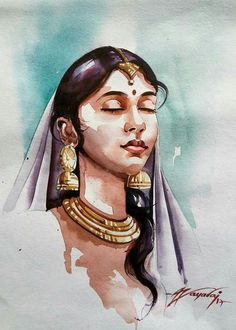 Trendy watercolor art face to draw 20 ideas Indian Women Painting, Indian Art Paintings, Digital Paintings, Potrait Painting, Portrait Art, Portrait Ideas, Woman Portrait, Watercolor Art Face, Watercolor Portraits