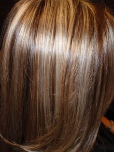 Pale blonde highlights, with chocolate brown lowlights