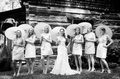 More than likely having a Southern/Irish outdoor wedding.. Bridesmaids will be in a nude color dress with a chocolate brown cowgirl boot can't decide if the parasol would be too much