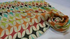 Retro geometric scarf. Printed on silk satin