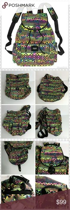 a18367d963 PINK Victoria s Secret Rainbow Aztec Backpack FULL SIZE!!! Features   -Drawstring closure -Buckle flap -Front Zippered Compartment -2 Zippered  side pockets ...