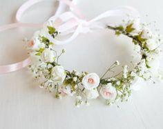 Cream Rose Crown Wedding Halo Bridal Head Wreath by HandyCraftTS