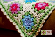 """crochet blanket - """"forget me not"""" The edging is so pretty on this one!"""