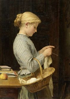 Girl Knitting Albert Anker (Swiss, Oil on canvas. Anker's paintings depict his fellow citizens in an unpretentious and plain manner, without idealising country life, but also without the critical examination of social conditions that ca Figure Painting, Painting & Drawing, Tricot D'art, Illustrator, Art Du Fil, Knit Art, Vintage Knitting, Oeuvre D'art, Female Art