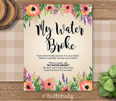 My Water Broke Game  Floral Theme Baby Shower Games  by ohellobaby