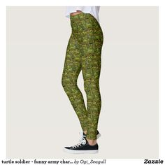 Shop turtle soldier - funny army character leggings created by Ogi_Seagull. Funny Army, Army Humor, Turtle, Pattern, Pants, Character, Women, Fashion, Trouser Pants