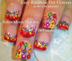 Easy Rainbow Flower Nail Art for beginners