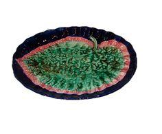 English Majolica Cobalt Leaf Tray