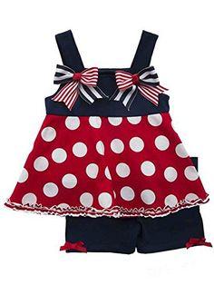 97408446b91c Little Girls 4th of July Dots Girls Blue Dress