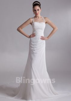Sweep A-line Chiffon Halter Ruched Open Back Sleeveless White Wedding Dresses