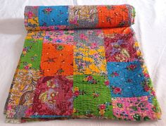 Indian Handmade flower printed Kantha Quilt Throw by textileszone