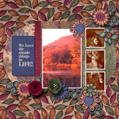 Pictures from a fall hike.  Kit used:  Paty Greif's Color Me Autumn bundle available at https://www.pickleberrypop.com/shop/manufacturers.php?manufacturerid=168  Template by Fiddle Dee Dee.