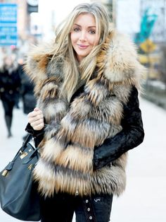 Fur vests can be paired over anything from leather to denim jackets to add some extra edge to any outfit.