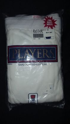 NOS New 2 pk 6X 62 64 Players Briefs Underwear 100% Combed Cotton White Big Tall #Players #Brief