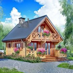 Casa in legno Alicja 62 18 Wooden House Design, Bamboo House Design, Small Wooden House, Wooden Houses, Cabin House Plans, Tiny House Cabin, Cottage House Plans, Cottage Homes, Casas The Sims 4
