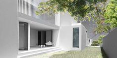Dvojdom Becko - harne | Architektonickým návrhom dvojdomu sa ušetrilo na cene pozemku, keďže z jednej strany u obidvoch domov sa nemusel riešiť minimálny odstup domu od hranice pozemku. Klienti tiež ušetrili investície na oknách a zateplení (viď. spoločná stena).