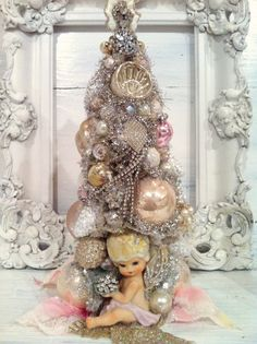 Vintage Christmas Angel Bottle Brush Tree Vintage Ornaments Rhinestone | eBay