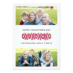 XOXO Two-Photo Family Valentine's Day Card Custom Announcements