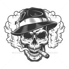 Buy Skull in Smoke Cloud by imogi on GraphicRiver. Skull in smoke cloud and fedora hat. Sketch Tattoo Design, Skull Tattoo Design, Skull Design, Skull Rose Tattoos, Body Art Tattoos, Tattoo Drawings, Skull Drawings, Tattoo Art, Chicano Style Tattoo