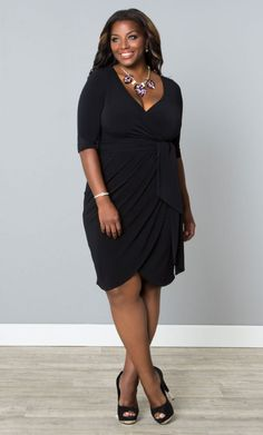 Harlow Faux Wrap Dressy Cocktail Dress, Black (Womens Plus Size)   From The Plus Size Fashion Community At www.VintageAndCurvy.com