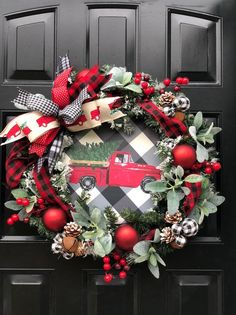 Red Truck Christmas Wreath, Buffalo Plaid Wreath, Buffalo Check Holiday Wreath, Holiday Wreath for Front Door, Farmhouse Christmas Wreath Farmhouse Christmas Decor, Farmhouse Style Decorating, Primitive Christmas, Rustic Christmas, Farmhouse Decor, Farmhouse Plans, Plaid Christmas, Christmas Home, Christmas Crafts