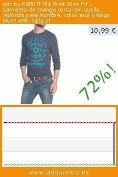 edc by ESPRIT Mit Print Slim Fit - Camiseta de manga corta con cuello redondo para hombre, color azul (indigo blue) 498, talla xl (Ropa). Baja 72%! Precio actual 10,99 €, el precio anterior fue de 39,95 €. https://www.adquisitio.es/edc-by-esprit/mit-print-slim-fit-65