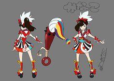 ※Triggerによる色指定用の資料より。百田夏菜子のモデルは源頼光。武器は5色の毛先を持つ金棒筆。