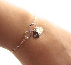 46297f24c1e3 Personalized Infinity Bracelet Initial Bracelet by BijouxbyMeg Pulseras De  Plata