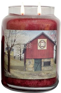 The Quilt Barn jar candle is scented with the Comforts of Home aroma, a blend of apple, clove, orange and juniper berry. The label is a favorite folkart print by Billy Jacobs, The Double-Wedding Ring Quilt Barn, a great design for spring into summer.