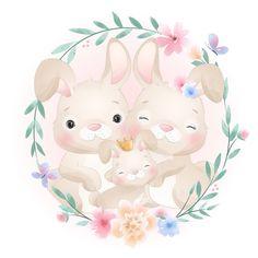 Illustration Blume, Cute Animal Illustration, Watercolor Illustration, Baby Animal Drawings, Cute Drawings, Watercolor Flower Background, Floral Watercolor, Wallpaper Iphone Cute, Cute Wallpapers