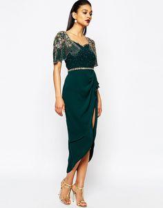 Image 4 ofVirgos Lounge Laila Embellished Midi Dress With Thigh Split Detail